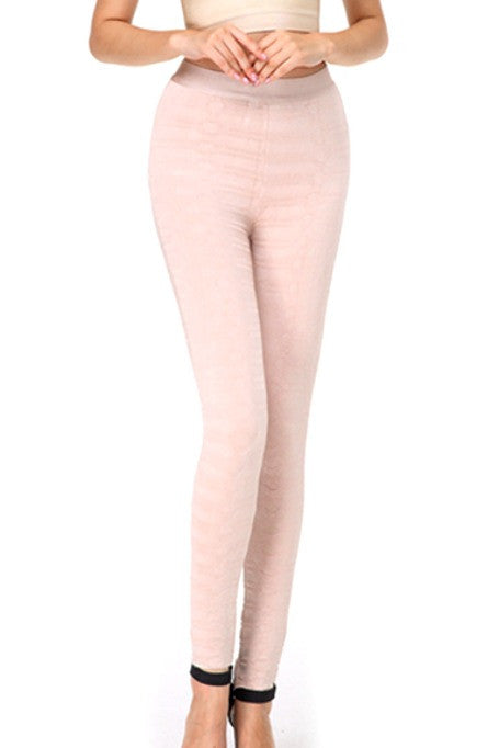 Like A Boss - Jacquard Bandage Leggings - Blush