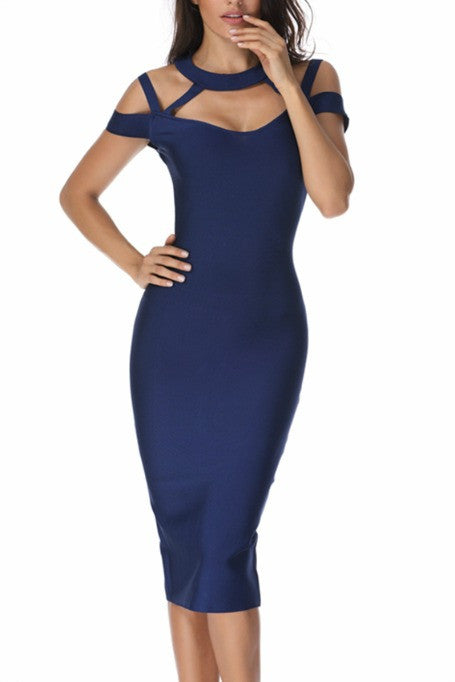 At The Top - Bandage Midi Dress - Navy