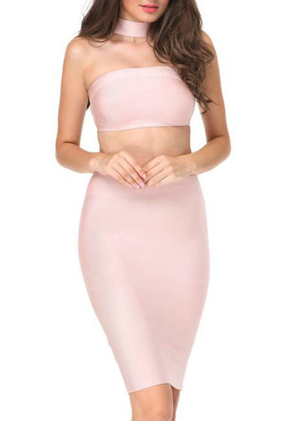 Chic Story - Two Piece Bandage Set - Nude
