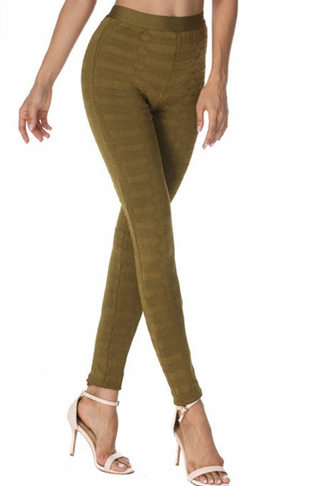 Like A Boss - Jacquard Bandage Leggings - Khaki