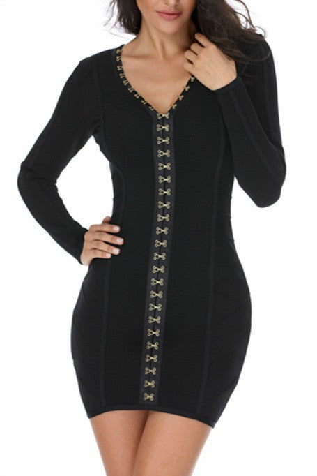Check Mate - Long Sleeve Bandage Dress