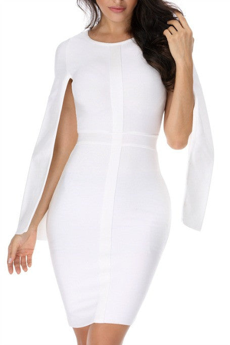 Cape Girl - Cape Sleeve Bandage Dress - White