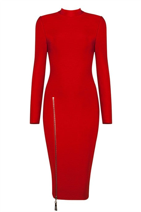 Back 2 Basics - Bandage Midi Dress - Red