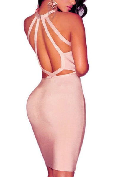 Back To Back - Bandage Dress - Pale Pink