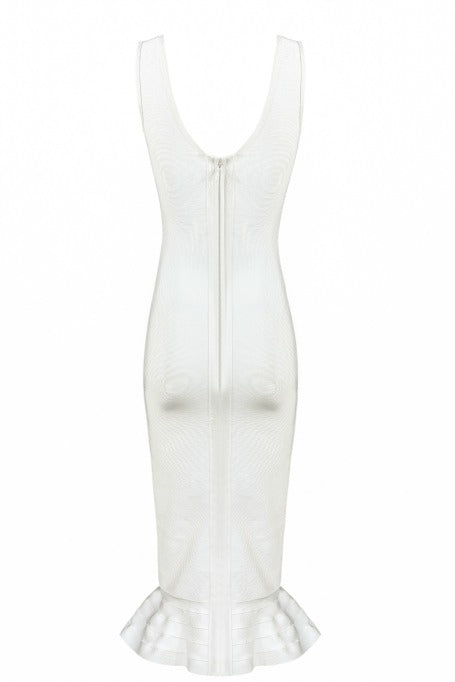 Power - Fluted Midi Dress - White