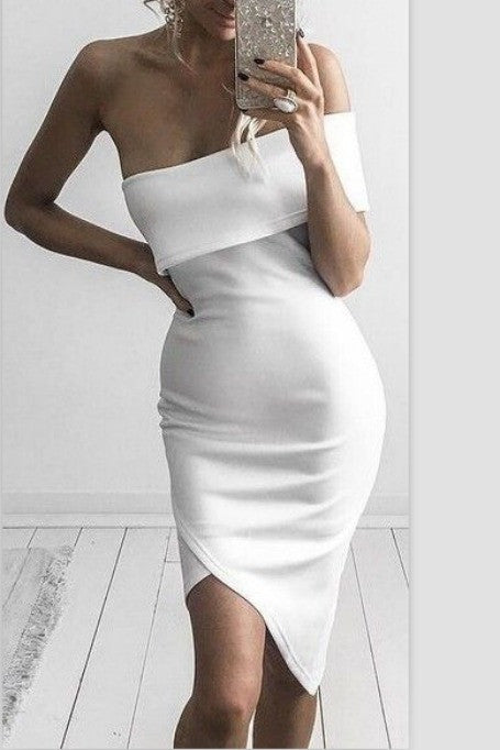 Keep Staring - Off Shoulders Bandage Dress - White
