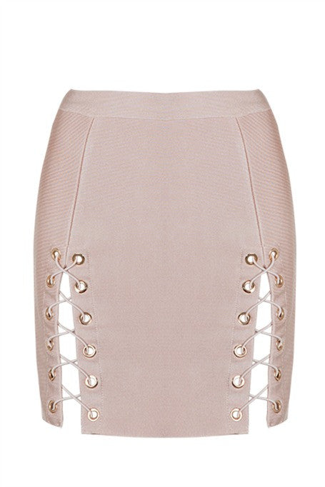 Seduce - Bandage Lace Up Mini Skirt - Nude