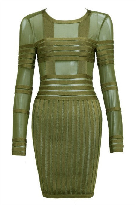Cross The Line - Mesh x Bandage Long Sleeve Dress - Olive
