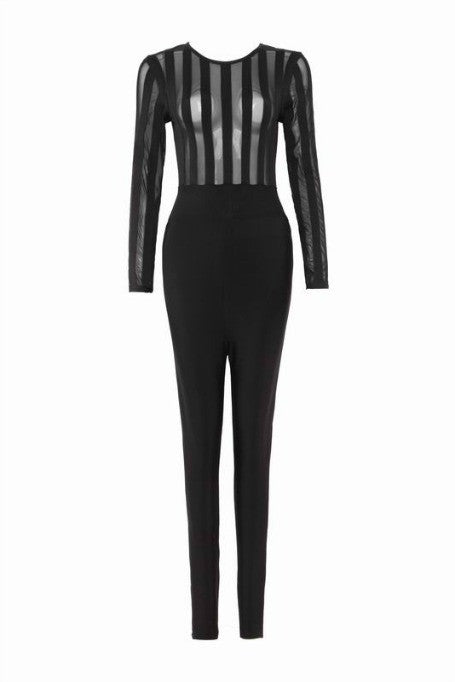 Lucky Stripe - Bandage x Mesh Jumpsuit - Black