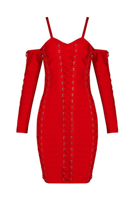 Fearless - Long Sleeve Bandage Dress - Red
