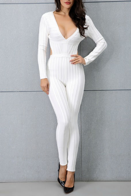 In My Lane - Bandage Jumpsuit - White