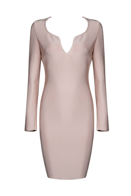 Simple Sexy - Long Sleeve Bandage Dress - Blush b633886f3