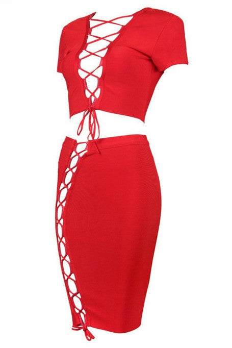 Into You - Two Piece Bandage Set - Red