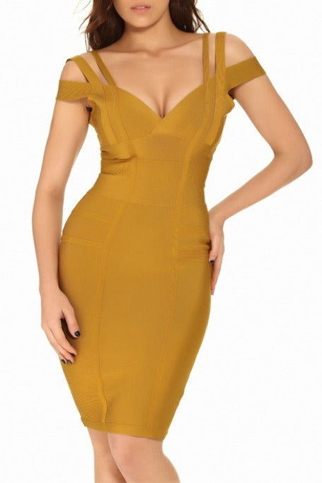 Even Better - Off Shoulders Bandage Dress - Ginger dddc91d53