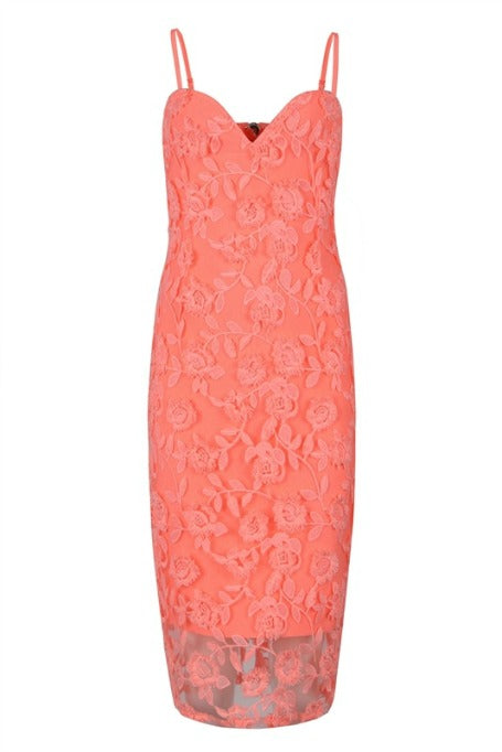 Diana - Lace Bandage Midi Dress - Peach
