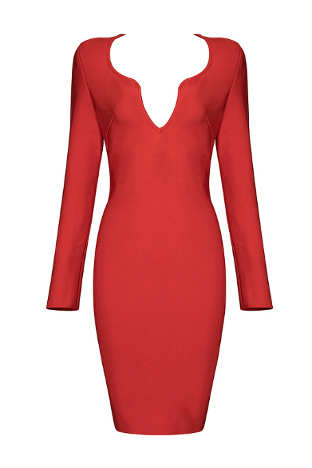 Simple Sexy - Long Sleeve Bandage Dress - Red 7f846f796