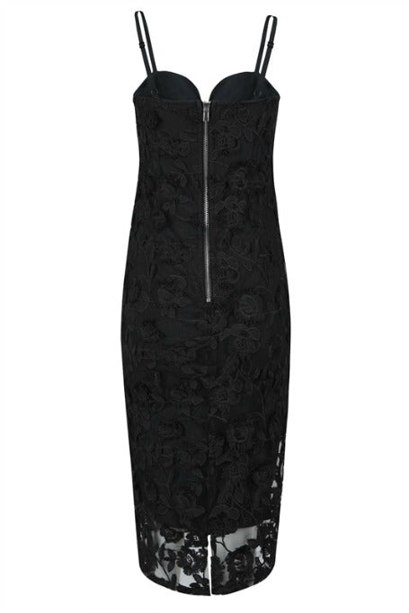 Diana - Lace Bandage Midi Dress - Black