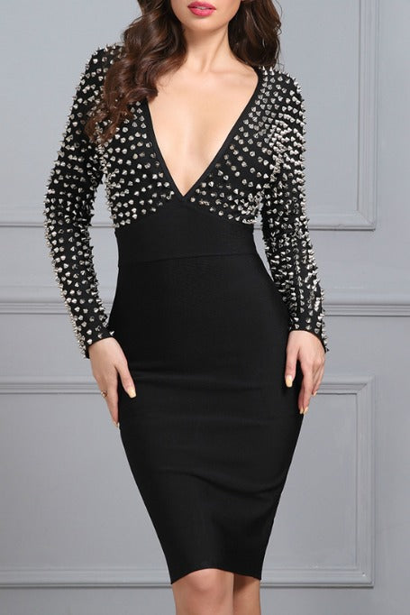 Dangerous Love - Studded Long Sleeve Bandage Dress - Black