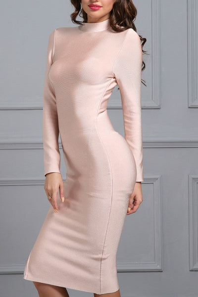 Back 2 Basics - Bandage Midi Dress - Nude