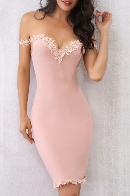 All I Want - Off Shoulders Bandage Dress - Blush