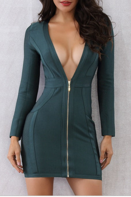Bougie - Long Sleeve Bandage Dress - Midnight Green