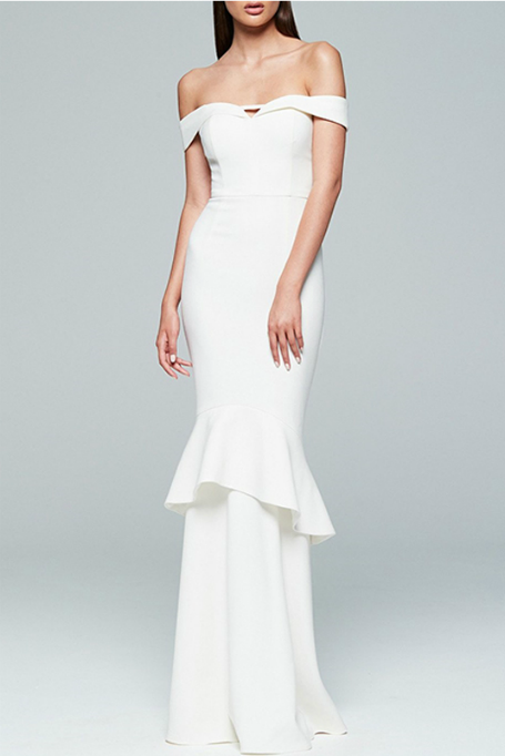 Limitless - Crepe Off Shoulders Maxi Dress - White