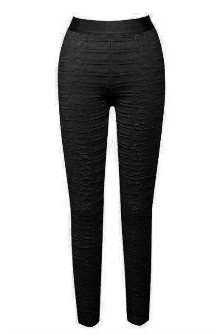 Like A Boss - Jacquard Bandage Leggings - Black