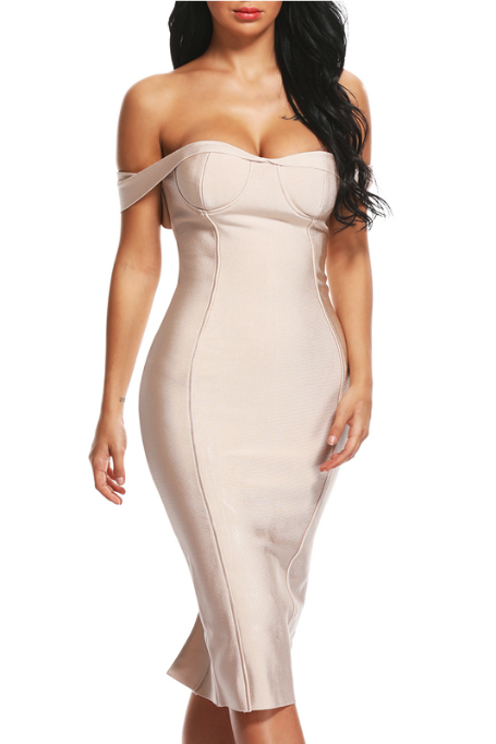 Be My Date - Bandage Dress - Nude