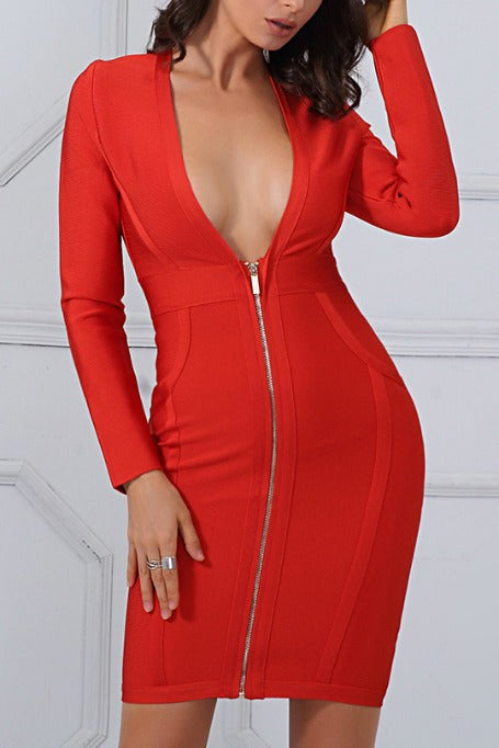 Bring It On - Long Sleeve Bandage Dress - Red