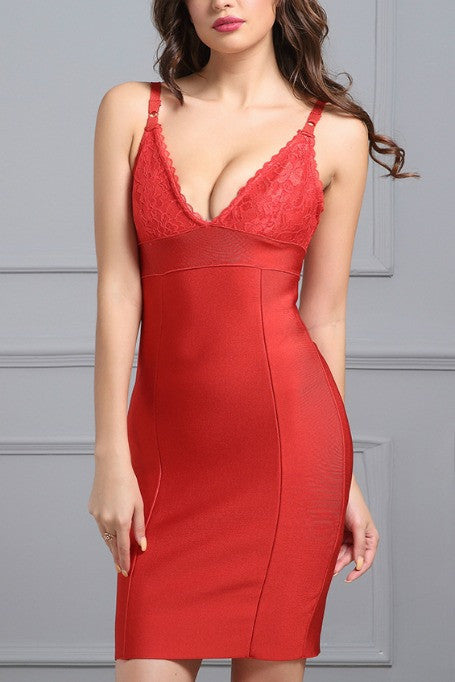 Be Mine - Lace Bandage Dress - Red
