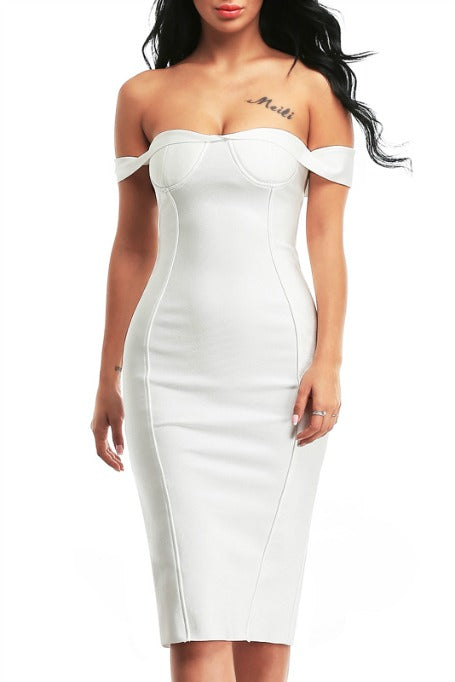 Be My Date - Bandage Dress - White