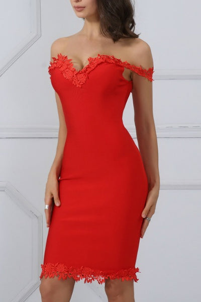 All I Want - Off Shoulders Bandage Dress - Red