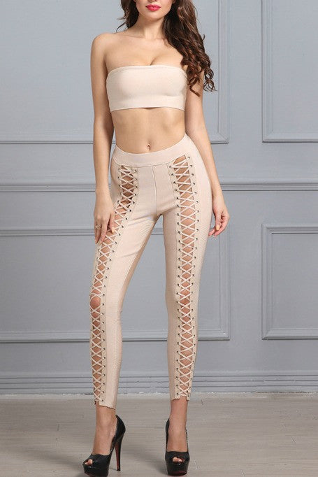 Bare It All - Bandage Pants Set - Nude