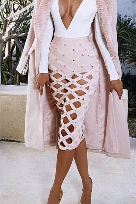 Cage - Bandage Skirt - Blush