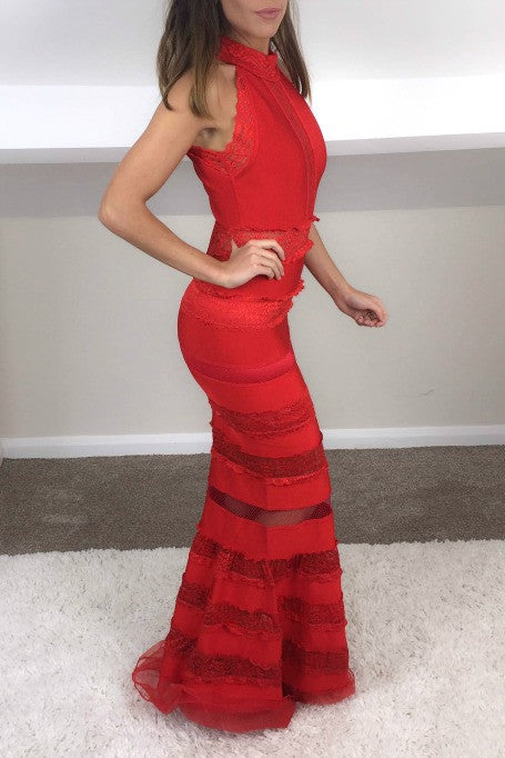 Deepest Desire - Bandage Maxi Dress - Red