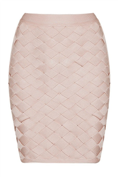 Expecting You - Lattice Bandage Mini Skirt - Blush