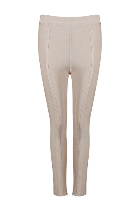 Basic Need - High Waisted Bandage Pants - Nude