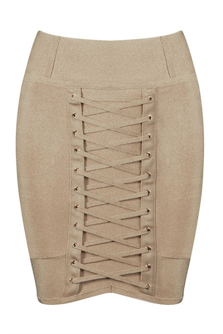 Lace Up - Bandage Mini Skirt - Tan