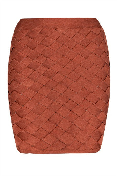 Expecting You - Lattice Bandage Mini Skirt - Rust