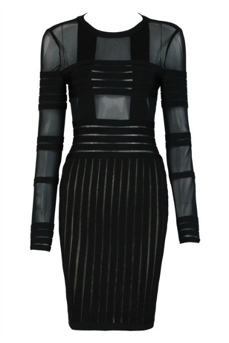 Cross The Line - Mesh x Bandage Long Sleeve Dress - Black