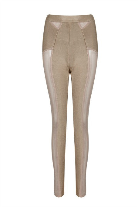 High Expectations - High Waisted Mesh Leggings - Tan