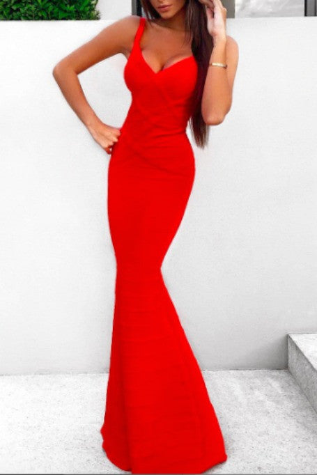 Evening Affair - Maxi Bandage Gown - Red