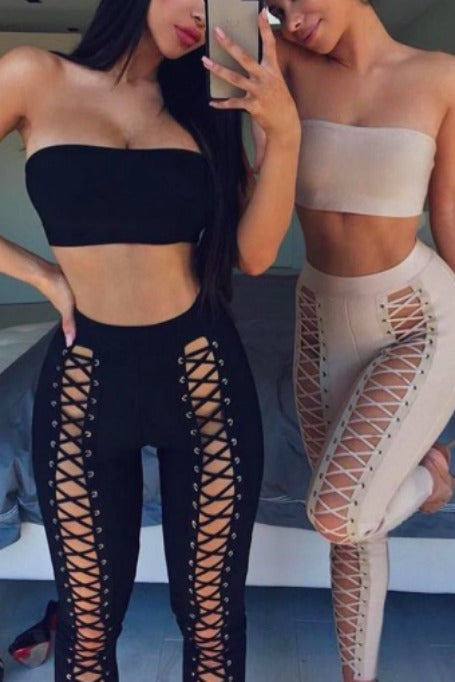 Black And White Two Piece Bandage Pants Set    Bandeau Style Top High Wa...