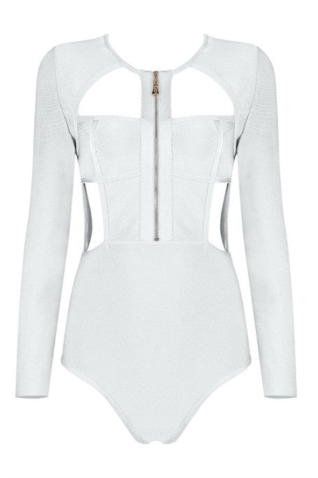 Dive Right In - Bandage Bodysuit - White