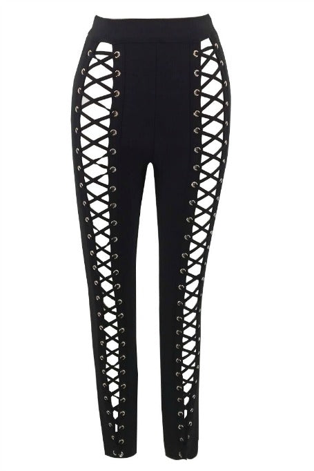 Hot Mess - High Waisted Lace Up Bandage Pants - Black