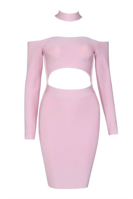 Cut Off - Long Sleeve Bandage Dress - Pink