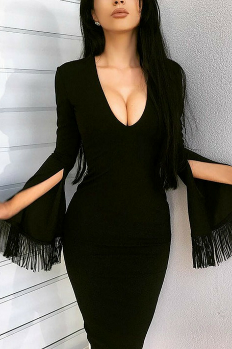 Femme Fatale - Fringe Long Sleeve Bandag Dress - Black