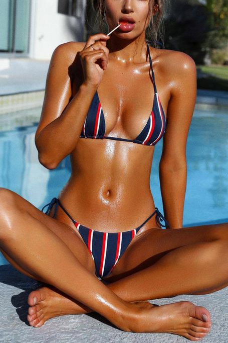 Carli - Stripped Bikini - Navy/Red