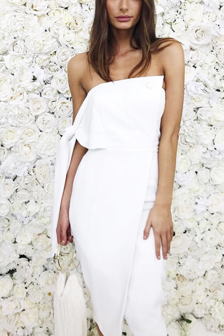 Sinclair - Strapless Crepe Dress - White