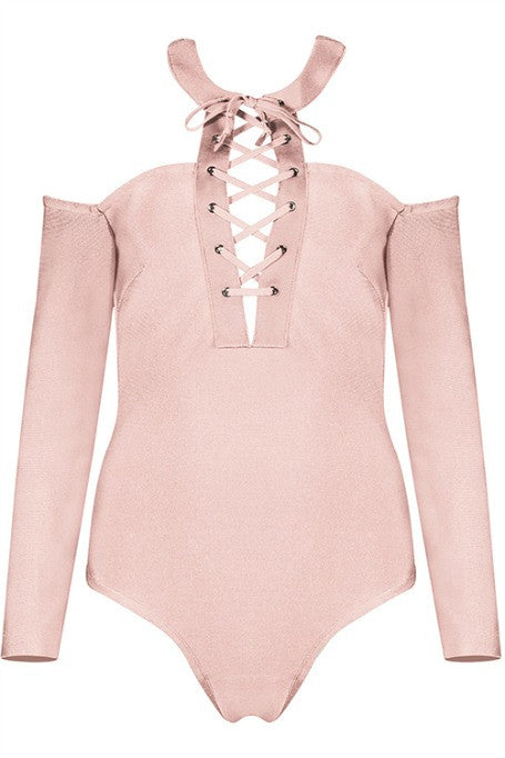 Tie & Collared - Bandage Bodysuit - Blush